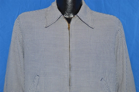 40s Reversible Gabardine Gingham Blue Jacket Mediu
