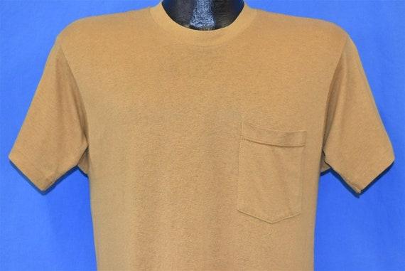 80s Brown Tan Plain Blank Pocket t-shirt Medium