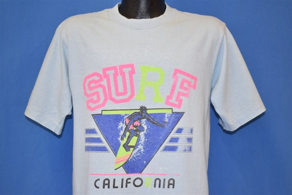 90s Surf California Wave Neon Surfing Oneita Blue