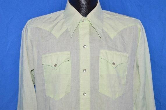 70s Rockmount Green Pearl Snap Shirt Medium