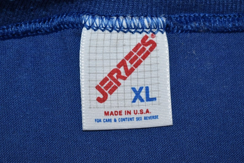 90s Blank Blue Jerzees Basic Plain Made in USA t-shirt Extra Large