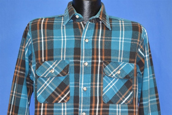 80s Five Brother Blue Plaid Flannel Workwear shirt