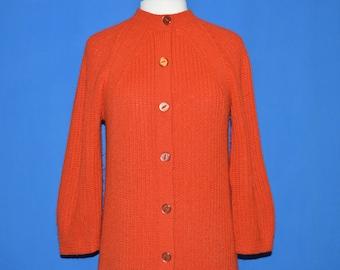 70s Bulky Knit Acrylic Women's Long Cardigan Sweater