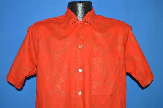 60s Sears Red Gold Loop Collar Hawaiian shirt Med… - image 3