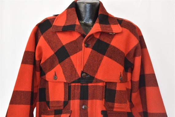 40s Woolrich Check Plaid Double Mackinaw Wool Wint