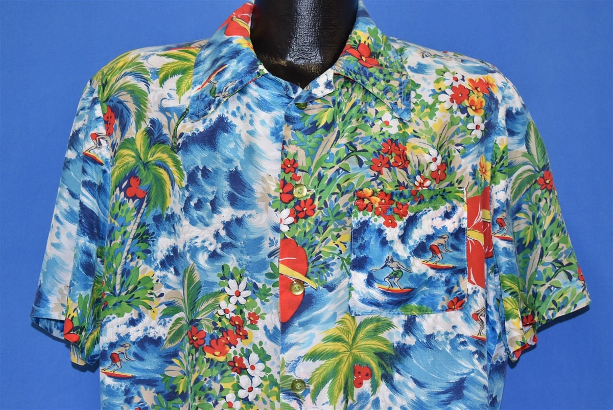 1940s Men's Shirts, Sweaters, Vests 70S Surfer Floral Silk 40S Style Aloha Hawaiian Shirt Large $5.99 AT vintagedancer.com