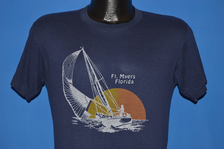 80 s ft. Myers Floride t-shirt coucher de soleil voile t-shirt Floride Medium e0683b