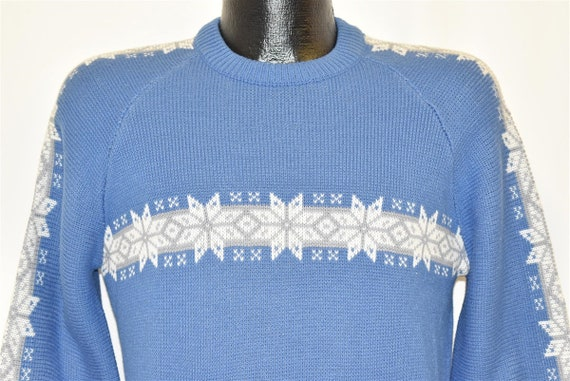 80s Blue Fair Isle Christmas Sweater Fair Isle Hol