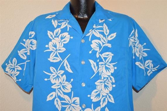 50s Blue White Pineapple Hibiscus Aloha Hawaiian S