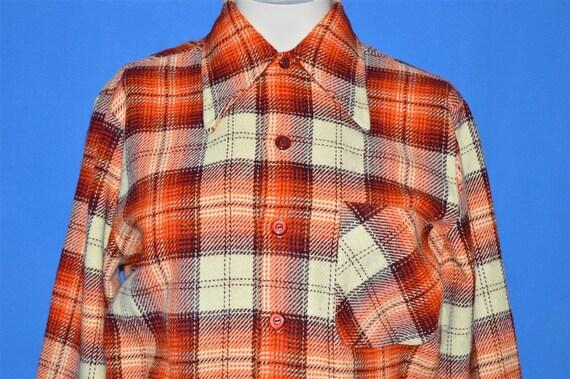 Sz XS 70s Kids Primitive Style Plaid Orange Dress