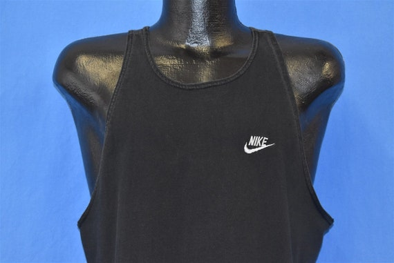 90s Nike Black Tank Top Running Red Swoosh USA t-s
