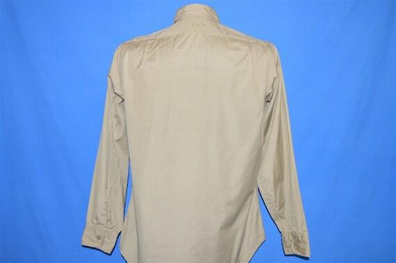 50s Khaki Military Work Shirt Button Down Pocket … - image 3
