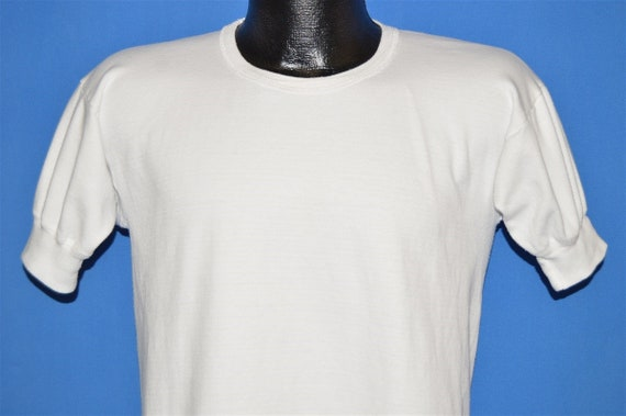70s Interlook Blank White Banded Sleeve t-shirt Me