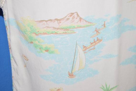 40s Aloha Hawaiian Surfing Rayon Loop Collar shir… - image 7