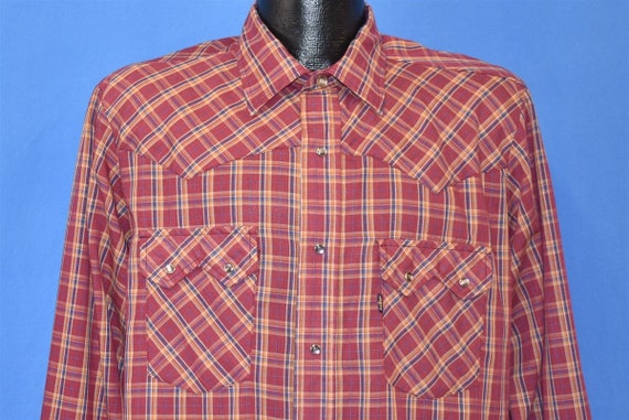 80s Levis Plaid Red Blue Western Pearl Snap Cowboy