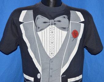 80s Tuxedo Bow Tie Dressy Black Cotton t-shirt Medium