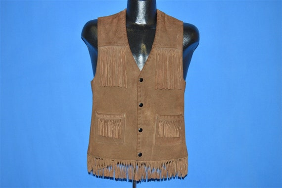 70s Suede Leather Fringe Vest Small - image 2