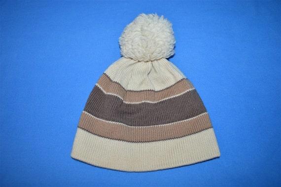 de2436e87de 80s Swing West Striped Wool Bobble Winter Hat