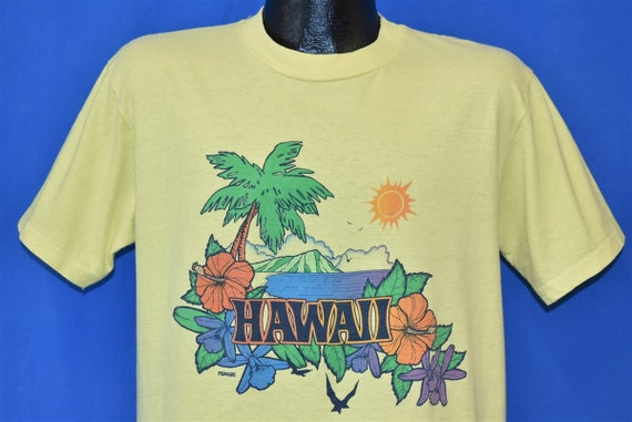 80s Hawaii Hibiscus Flowers Palm Tree Pomare t-shi
