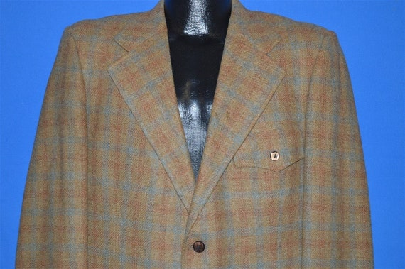 60s Brown Plaid Wool Square Button Sport Coat Suit