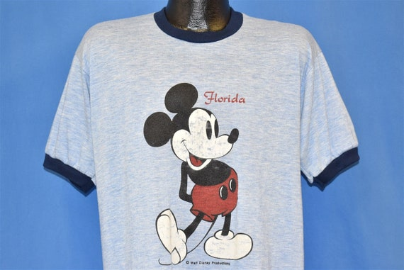 80s Mickey Mouse Florida Disney Ringer Soft t-shir