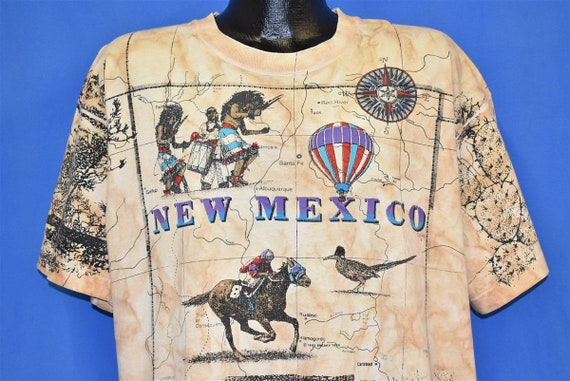 90s New Mexico Map Tribe Horse All Over Print t-sh