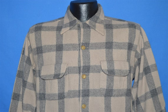 50s Gray Loop Collar Plaid Wool Flannel shirt Larg