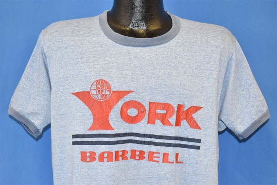 70s York Barbell Ringer Heathered Distressed t-shi