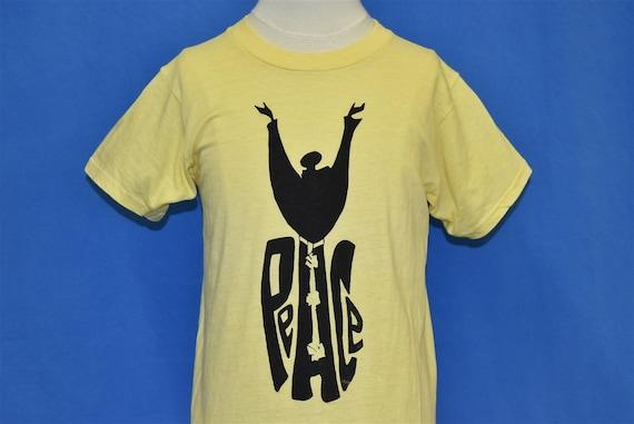 70s Peace Dove Yellow Black Cotton Hippie t-shirt