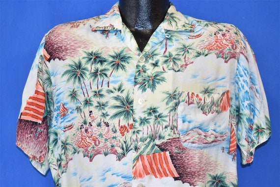 60s Kuonakakai Rayon Aloha Hawaiian Shirt Medium