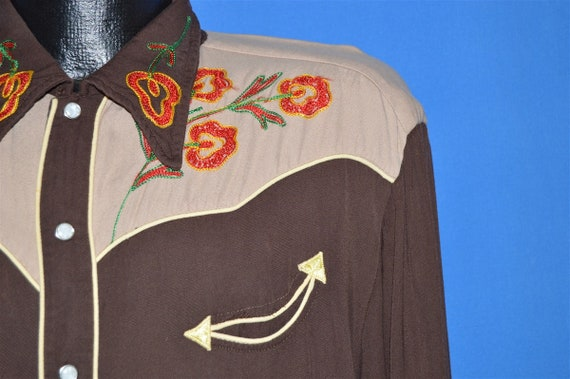 50s Embroidered Pearl Snap Western Shirt Extra La… - image 3