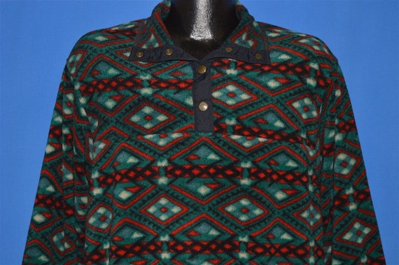 90s Woolrich Printed Fleece Pullover Jacket Medium