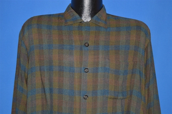 50s Rosenblatts By Donegal Plaid Loop Collar shirt