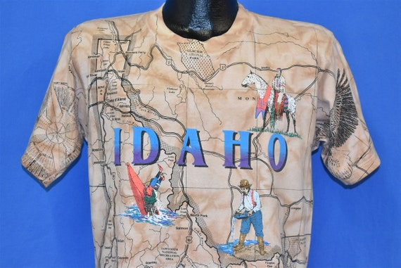 90s Idaho State Map All Over Print Tourist t-shirt