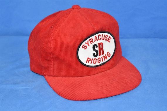 80s Syracuse Rigging Red Corduroy SR Snapback Hat