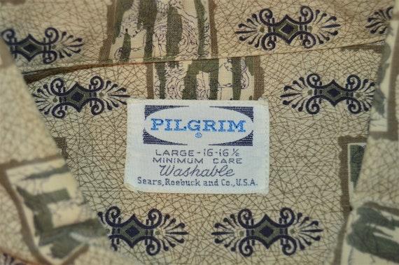 50s Pilgrim Novelty Print Rockabilly Shirt Large - image 3