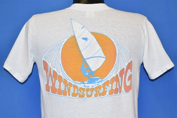 70s Windsurfing Pocket Tee Sailing Surfer Beach t-