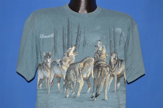 90s Minnesota White Wolves Wrap Around t-shirt Lar