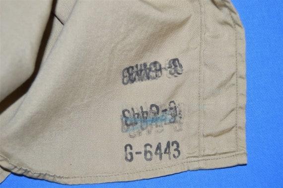 50s Khaki Military Work Shirt Button Down Pocket … - image 5