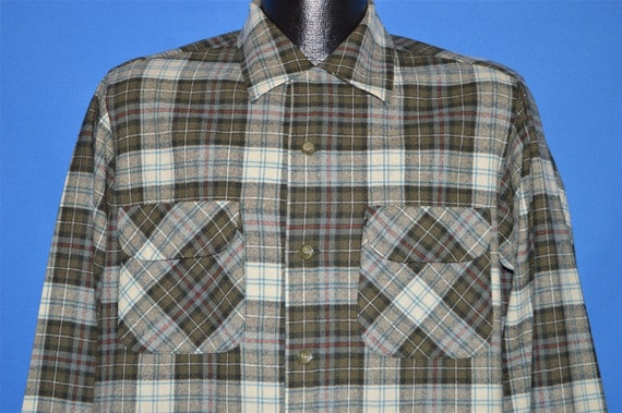 60s Pendleton Brown Plaid Loop Collar Wool shirt M