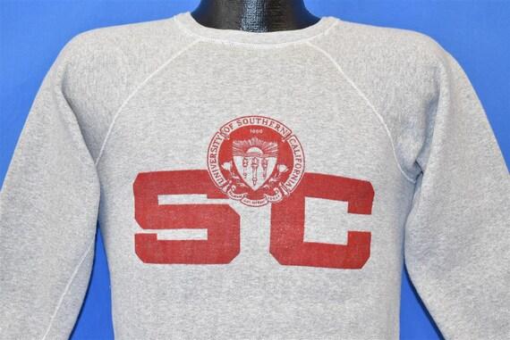 50s USC Trojans Gray Raglan Sweatshirt Small