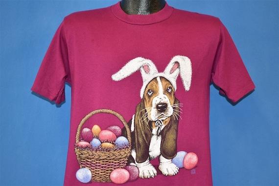 90s Bassett Hound Easter Basket Bunny Ears t-shirt