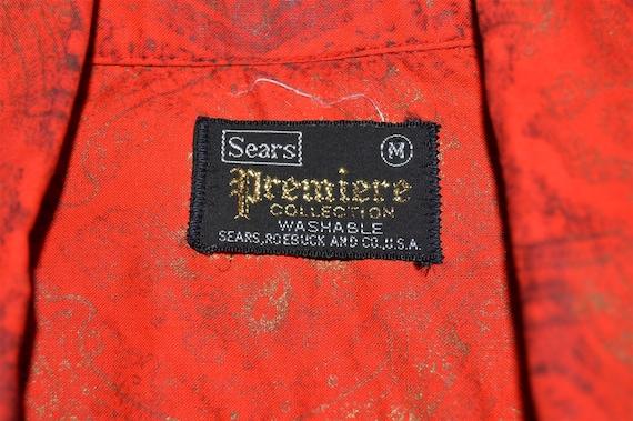 60s Sears Red Gold Loop Collar Hawaiian shirt Med… - image 6