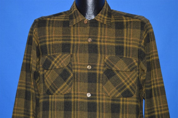 50s Brown Wool Loop Collar Plaid shirt Small