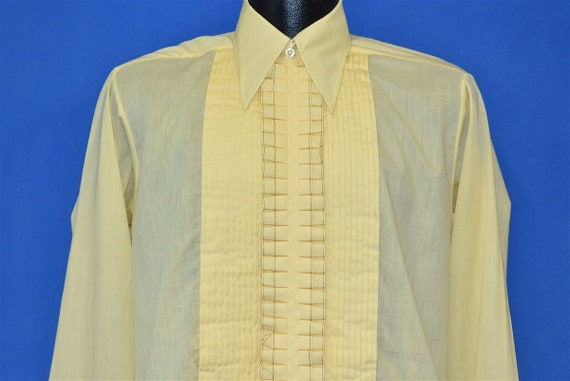70s Black Tie Yellow Ruffled Tuxedo Men's Shirt Me