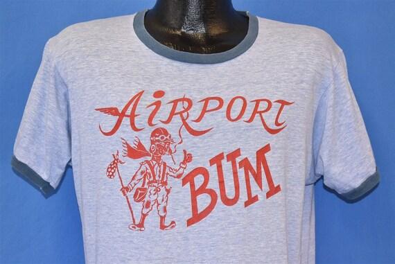 70s Airport Bum Hobo Smoking Heathered Ringer t-sh