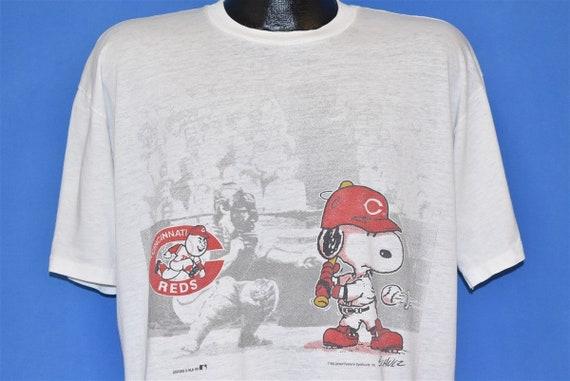90s Cincinnati Red Snoopy Peanuts Cartoon MLB Base