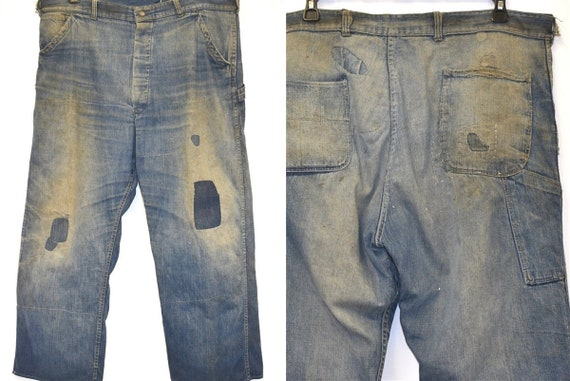 40s Railroad Carpenter Patched Jeans Work Pants Si