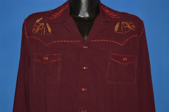 40s Horse Embroidered Western Shirt Large