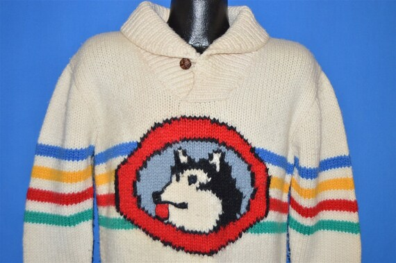 70s Husky Rainbow Stripe Hand Knit Wool Sweater Me